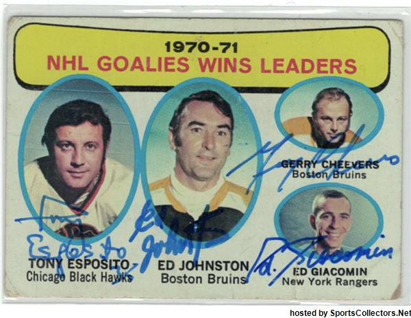 1971 Topps - Tony Esposito / Ed Johnston / Gerry Cheevers / Ed Giacomin
